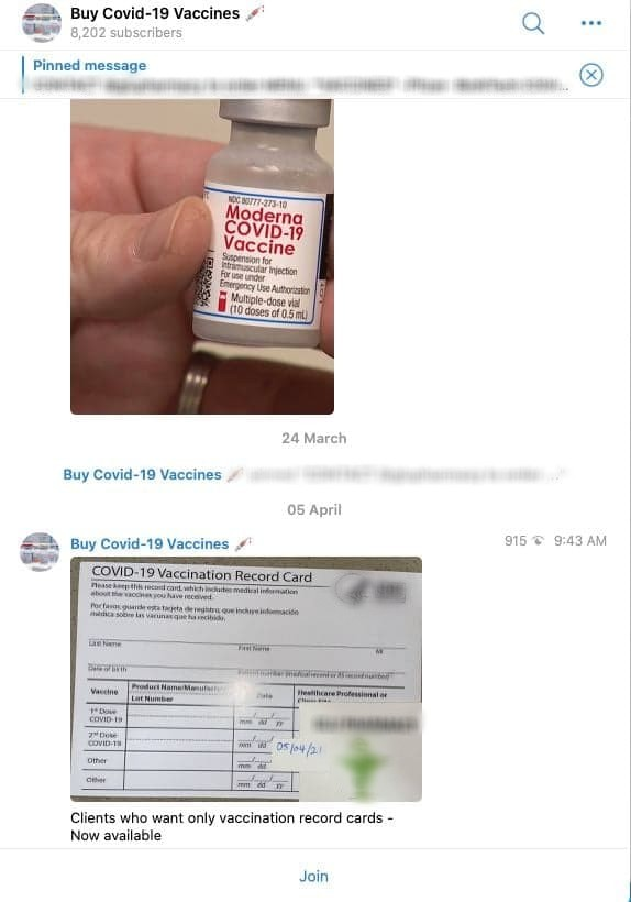 Fake COVID-19 vaccines are being promoted in Dark Web market
