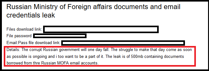 Documents of Russian Ministry of Foreign Affairs Published in Dark Web