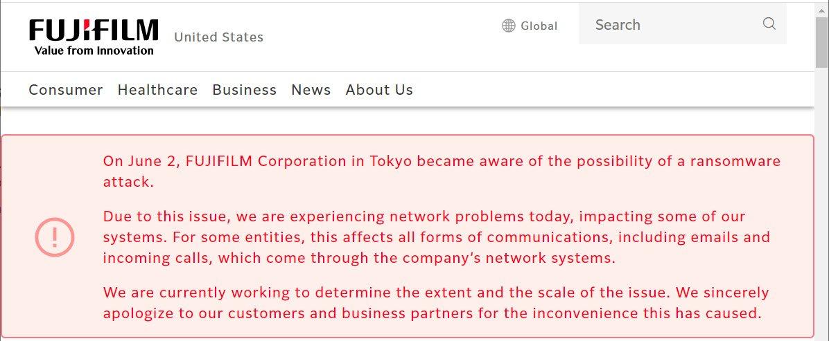 Fujifilm confirms ransomware attack, partially shuts networks