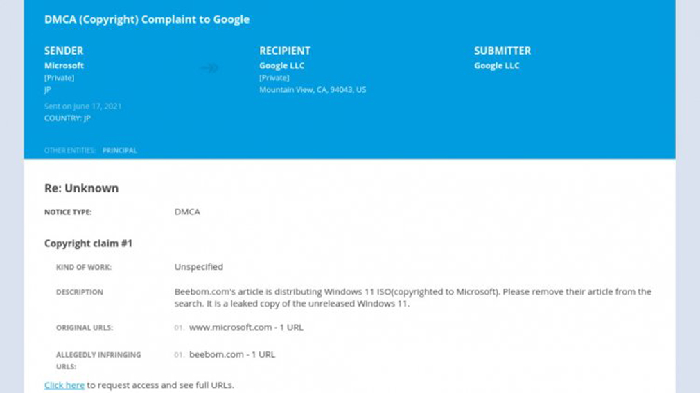 Microsoft filed formal complaint against Google under DMCA copyright law
