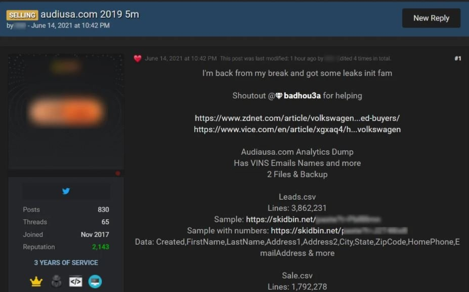 Volkswagen data for sale on hacking forum