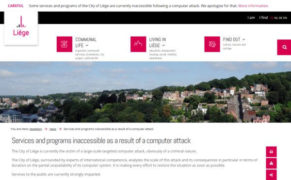 Municipality IT Network at Belgium's Third-largest City Disrupted by Ransomware Attack