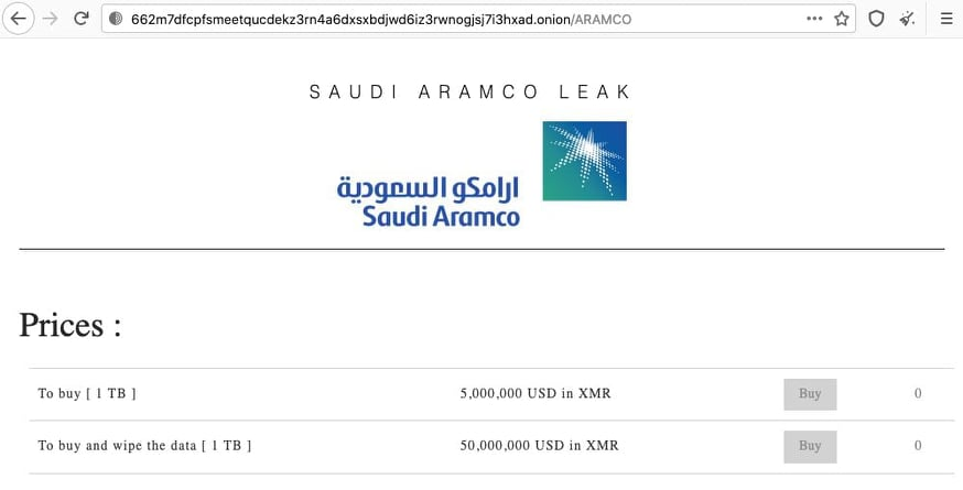 Dark Web actorsoffering 1TB stolen from Saudi Aramco